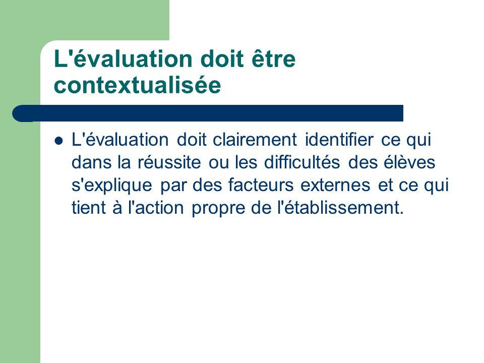 L'évaluation doit être contextualisée L'évaluation doit clairement identifier ce qui dans la réussite ou les difficultés des élèves s'explique par des