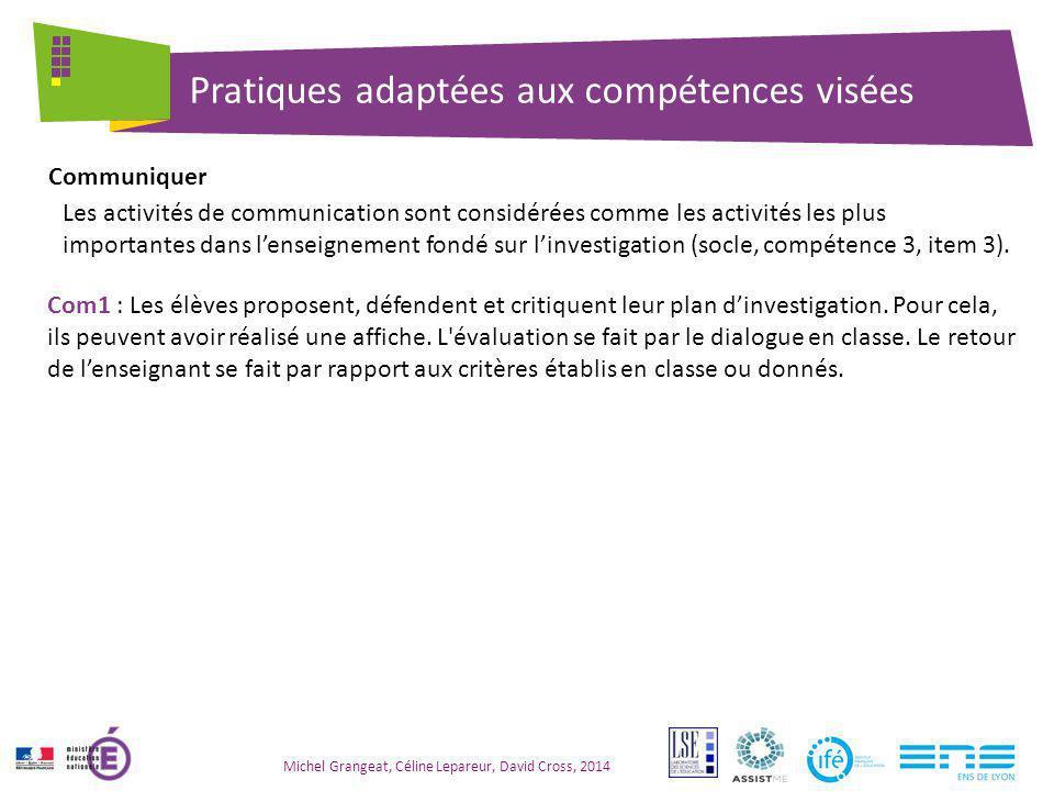 Pratiques adaptées aux compétences visées Michel Grangeat, Céline Lepareur, David Cross, 2014 Les activités de communication sont considérées comme le