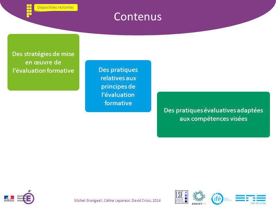 Contenus Des stratégies de mise en œuvre de l'évaluation formative Des pratiques relatives aux principes de l'évaluation formative Des pratiques évalu