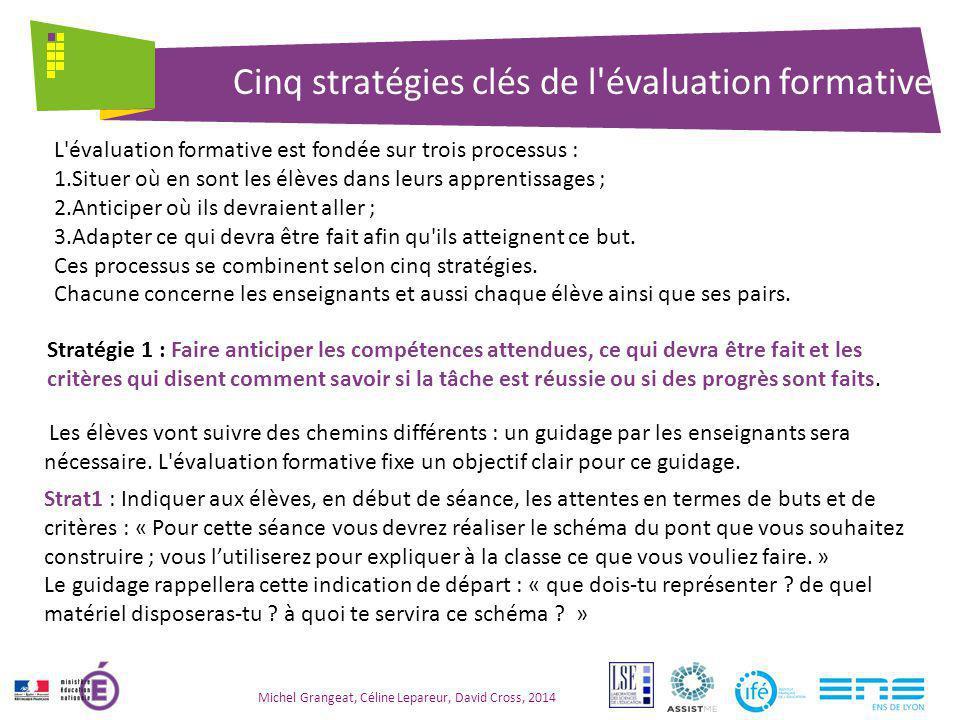 Cinq stratégies clés de l évaluation formative Michel Grangeat, Céline Lepareur, David Cross, 2014 Il s agit d adapter les séquences en fonction des progrès réalisés et des compétences visées.
