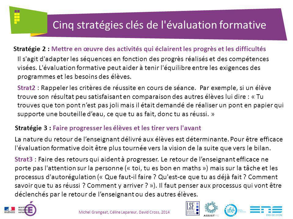 Cinq stratégies clés de l évaluation formative Michel Grangeat, Céline Lepareur, David Cross, 2014 Les élèves doivent conduire et adapter les stratégies pour réaliser les tâches.