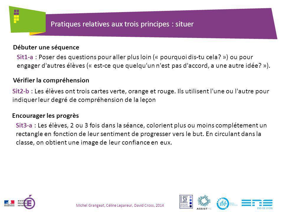 Pratiques relatives aux trois principes : situer Michel Grangeat, Céline Lepareur, David Cross, 2014 Sit1-a : Poser des questions pour aller plus loin