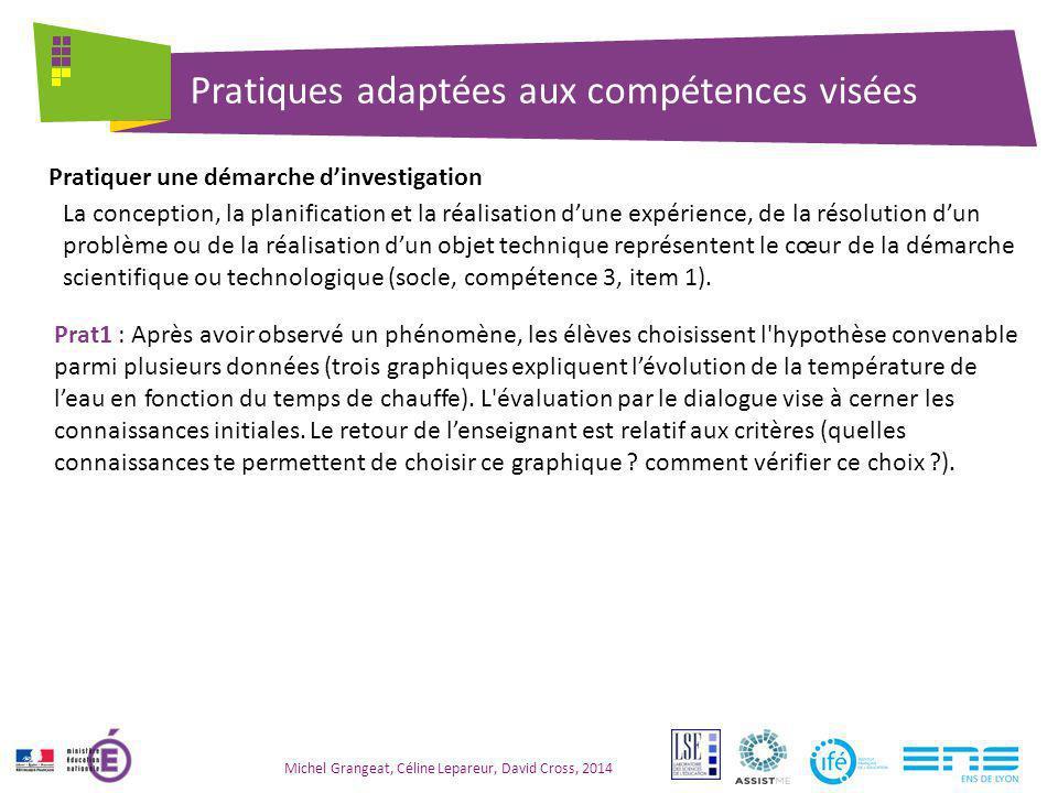 Pratiques adaptées aux compétences visées Michel Grangeat, Céline Lepareur, David Cross, 2014 La conception, la planification et la réalisation d'une