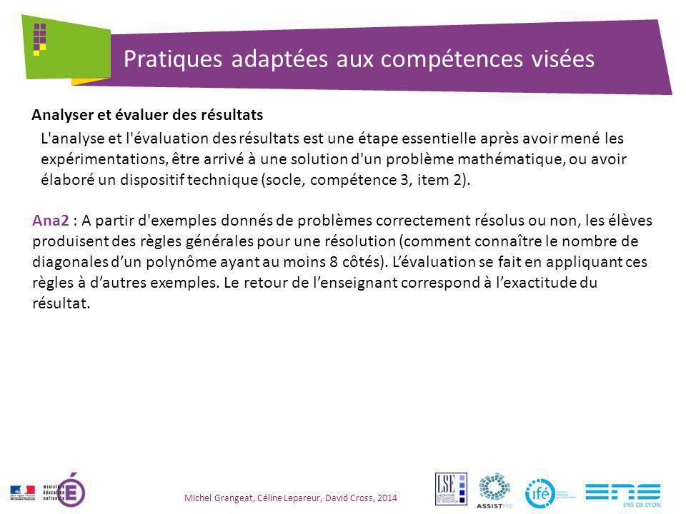 Pratiques adaptées aux compétences visées Michel Grangeat, Céline Lepareur, David Cross, 2014 L'analyse et l'évaluation des résultats est une étape es