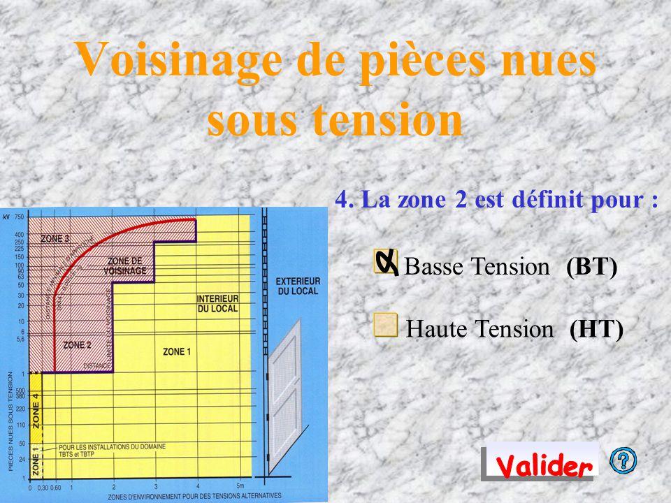 4. La zone 2 est définit pour : Basse Tension (BT) Haute Tension (HT)