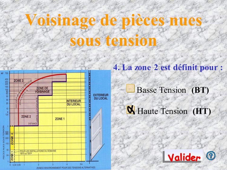 Voisinage de pièces nues sous tension 4. La zone 2 est définit pour : Basse Tension (BT) Haute Tension (HT)