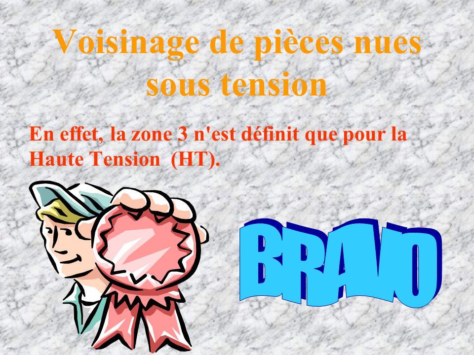 Voisinage de pièces nues sous tension 7. La zone 3 n'est définit que pour la Basse Tension (BT). VraiFaux