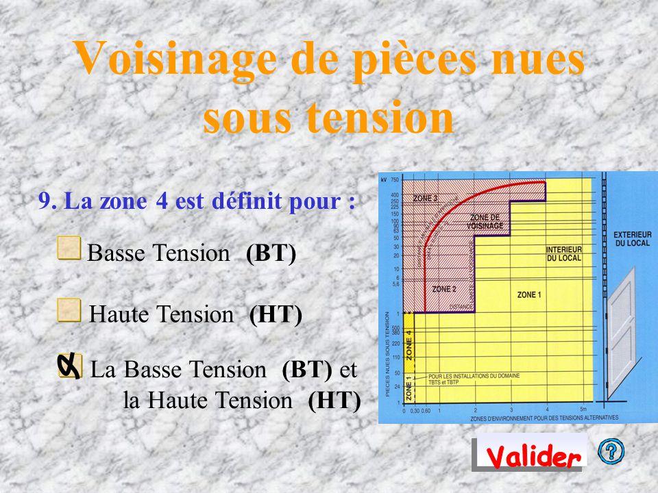 Voisinage de pièces nues sous tension 9. La zone 4 est définit pour : Basse Tension (BT) Haute Tension (HT) La Basse Tension (BT) et la Haute Tension