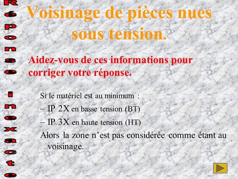 Si le matériel est au minimum : –IP 2X en basse tension (BT) –IP 3X en haute tension (HT) Alors la zone n'est pas considérée comme étant au voisinage.
