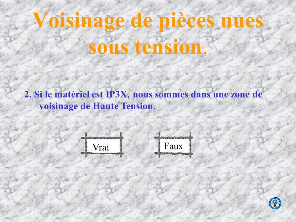 Voisinage de pièces nues sous tension En effet, l'indice IP 2X concerne concerne la matériel du domaine de la basse tension (BT)