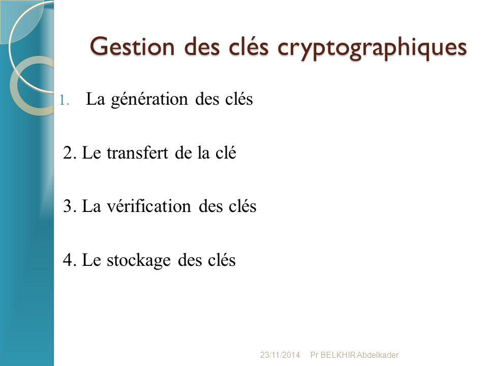 Gestion des clés cryptographiques Gestion des clés cryptographiques 1. La génération des clés 2. Le transfert de la clé 3. La vérification des clés 4.