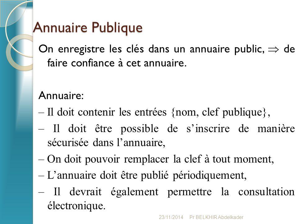 Annuaire Publique On enregistre les clés dans un annuaire public,  de faire confiance à cet annuaire. Annuaire: – Il doit contenir les entrées {nom,