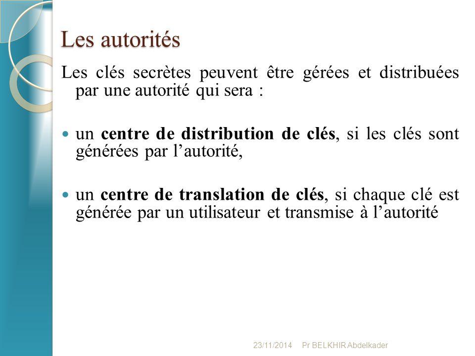 Les autorités Les clés secrètes peuvent être gérées et distribuées par une autorité qui sera : un centre de distribution de clés, si les clés sont gén