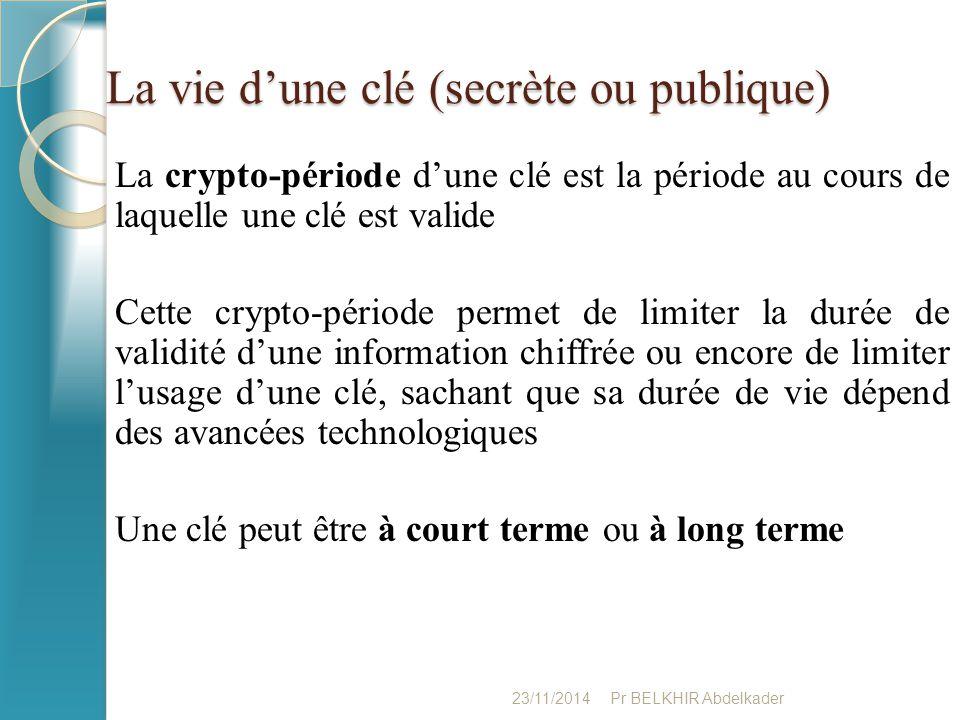 La vie d'une clé (secrète ou publique) La crypto-période d'une clé est la période au cours de laquelle une clé est valide Cette crypto-période permet