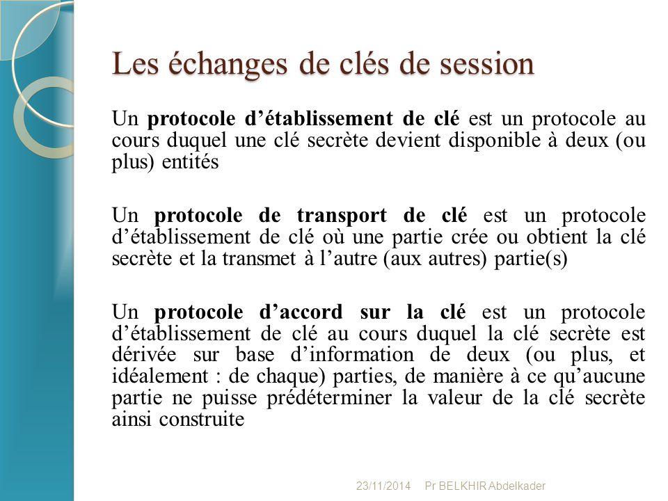 Les échanges de clés de session Un protocole d'établissement de clé est un protocole au cours duquel une clé secrète devient disponible à deux (ou plu