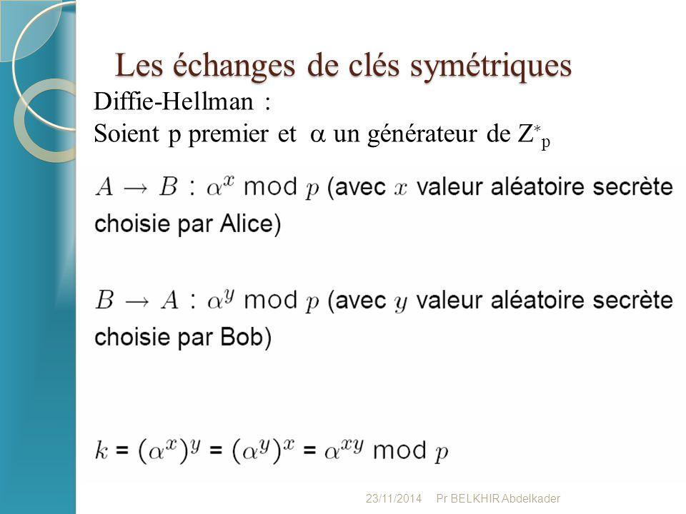 Les échanges de clés symétriques 23/11/2014Pr BELKHIR Abdelkader Diffie-Hellman : Soient p premier et  un générateur de Z ∗ p