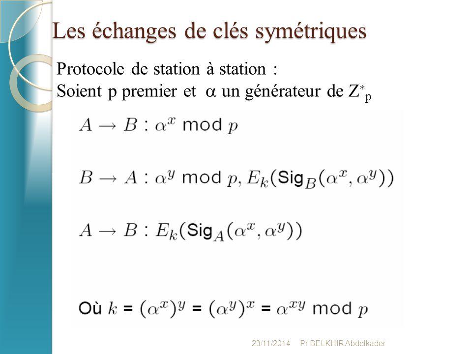 Les échanges de clés symétriques 23/11/2014Pr BELKHIR Abdelkader Protocole de station à station : Soient p premier et  un générateur de Z ∗ p