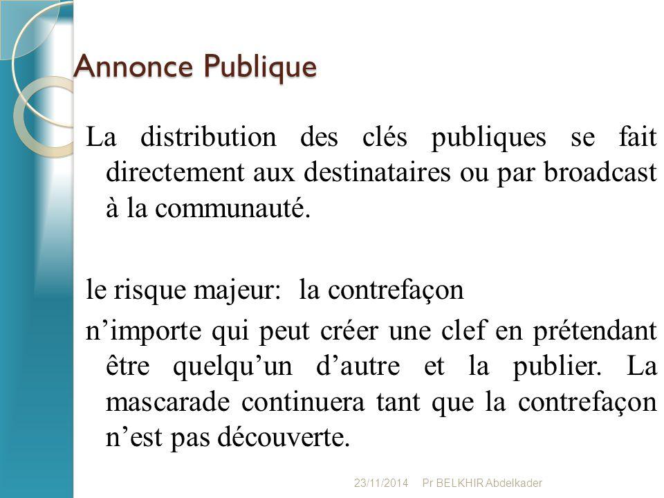 Annonce Publique La distribution des clés publiques se fait directement aux destinataires ou par broadcast à la communauté. le risque majeur: la contr