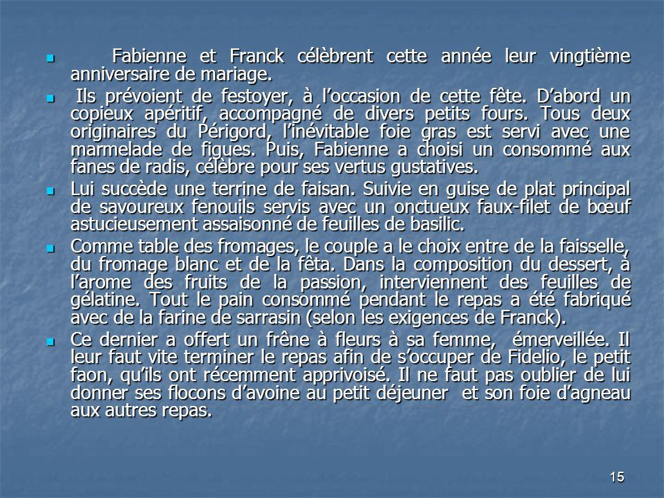 15 Fabienne et Franck célèbrent cette année leur vingtième anniversaire de mariage. Fabienne et Franck célèbrent cette année leur vingtième anniversai