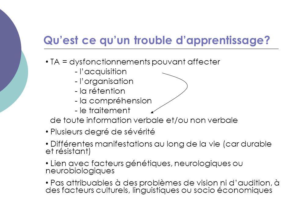 Qu'est ce qu'un trouble d'apprentissage? TA = dysfonctionnements pouvant affecter - l'acquisition - l'organisation - la rétention - la compréhension -
