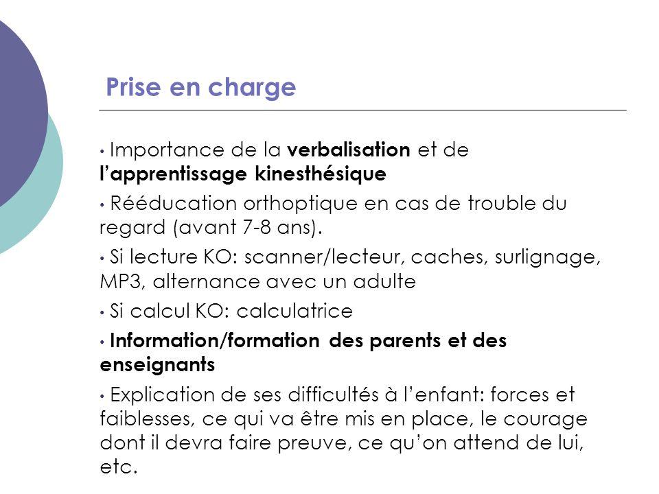 Prise en charge Importance de la verbalisation et de l'apprentissage kinesthésique Rééducation orthoptique en cas de trouble du regard (avant 7-8 ans)