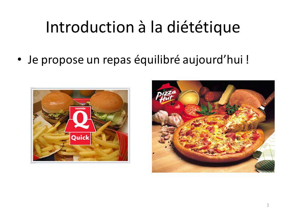 Introduction à la diététique Je propose un repas équilibré aujourd'hui ! 3