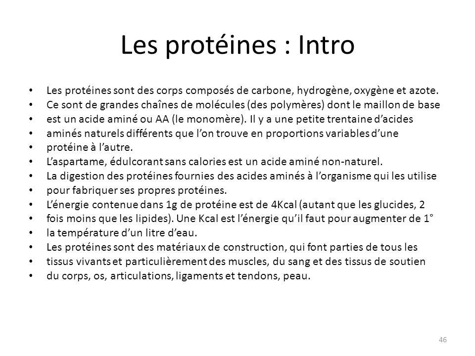 Les protéines : Intro Les protéines sont des corps composés de carbone, hydrogène, oxygène et azote. Ce sont de grandes chaînes de molécules (des poly