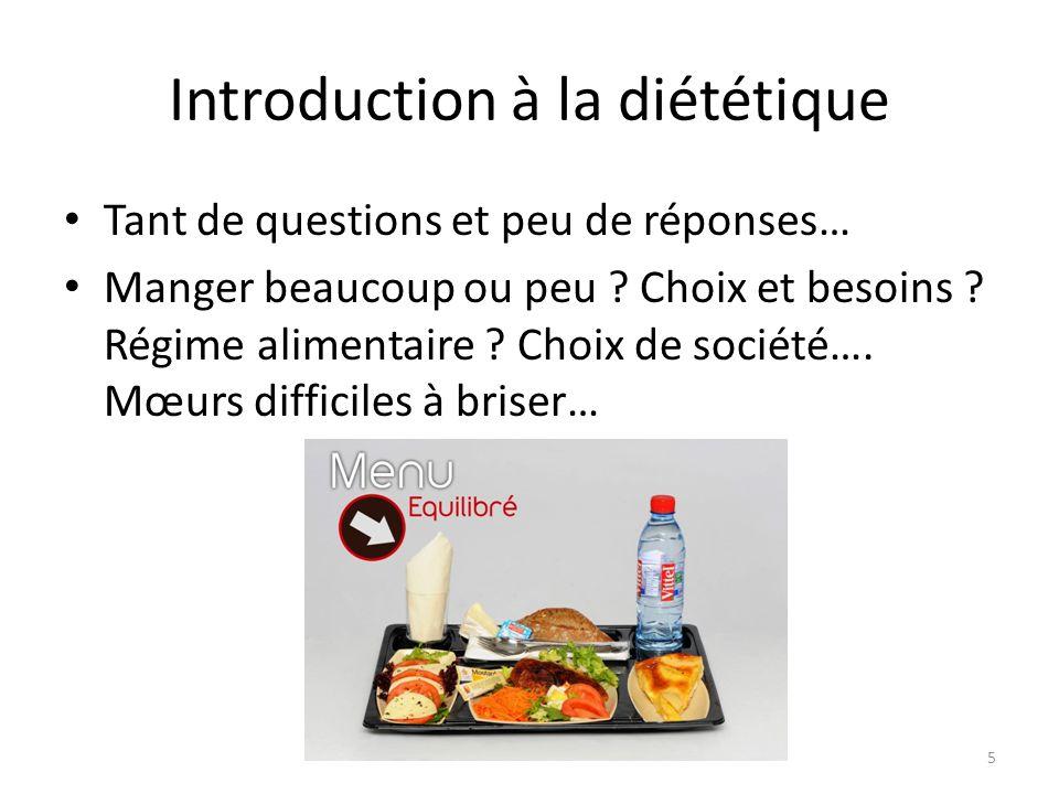 Introduction à la diététique Tant de questions et peu de réponses… Manger beaucoup ou peu ? Choix et besoins ? Régime alimentaire ? Choix de société….
