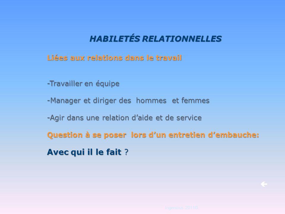 Ingenious 2011©. HABILETÉS RELATIONNELLES Liées aux relations dans le travail -Travailler en équipe -Manager et diriger des hommes et femmes -Agir dan