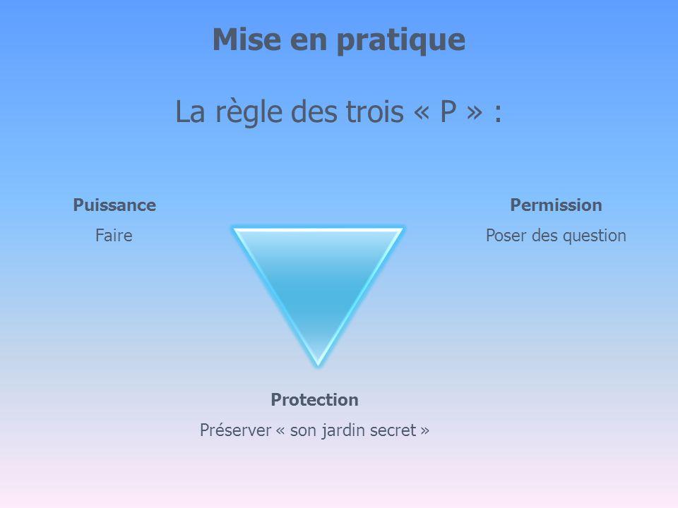 Mise en pratique La règle des trois « P » : Puissance Faire Permission Poser des question Protection Préserver « son jardin secret »
