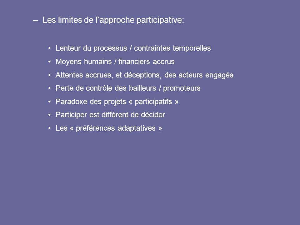 –Les limites de l'approche participative: Lenteur du processus / contraintes temporelles Moyens humains / financiers accrus Attentes accrues, et décep