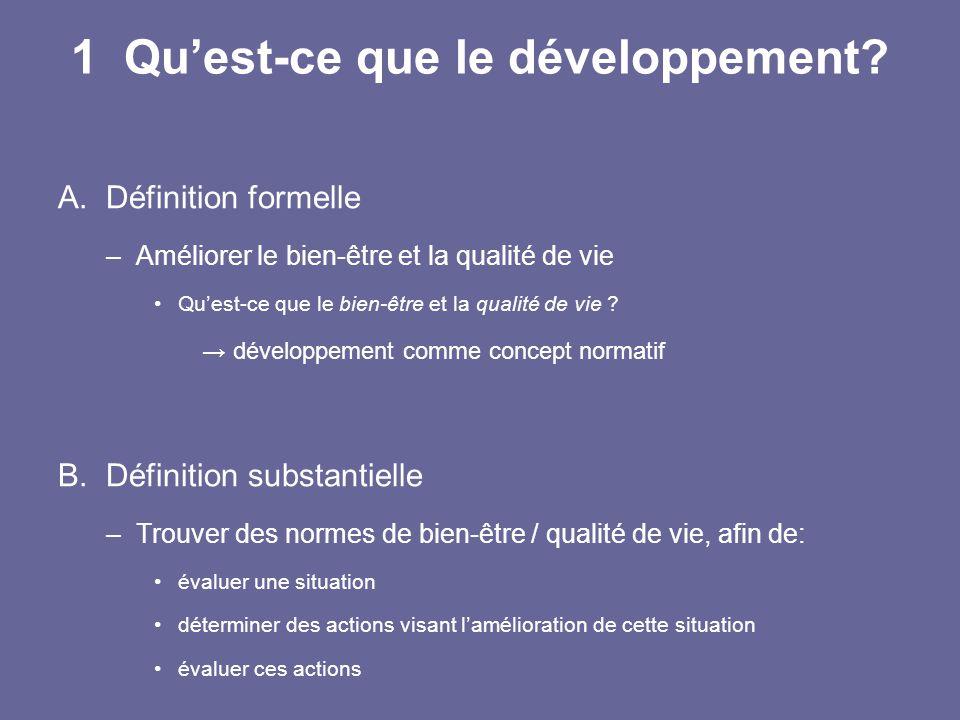1 Qu'est-ce que le développement? A.Définition formelle –Améliorer le bien-être et la qualité de vie Qu'est-ce que le bien-être et la qualité de vie ?