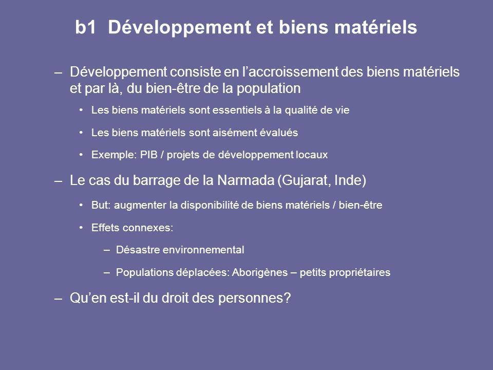 b1 Développement et biens matériels –Développement consiste en l'accroissement des biens matériels et par là, du bien-être de la population Les biens
