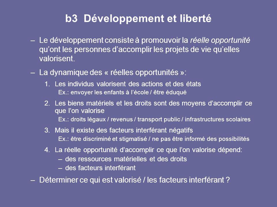 b3 Développement et liberté –Le développement consiste à promouvoir la réelle opportunité qu'ont les personnes d'accomplir les projets de vie qu'elles