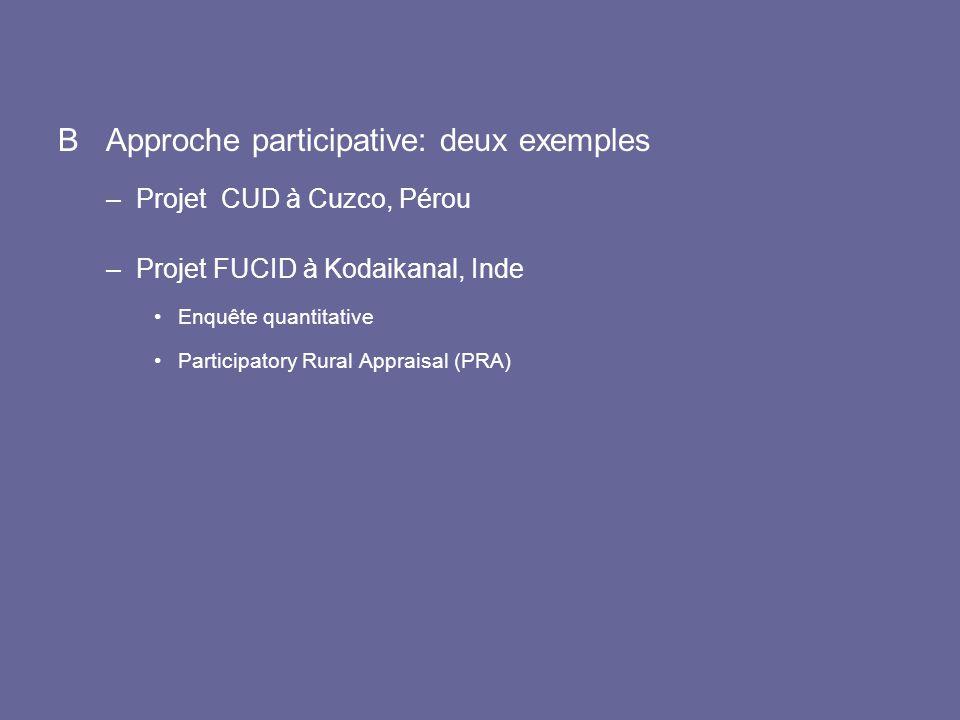 B Approche participative: deux exemples –Projet CUD à Cuzco, Pérou –Projet FUCID à Kodaikanal, Inde Enquête quantitative Participatory Rural Appraisal