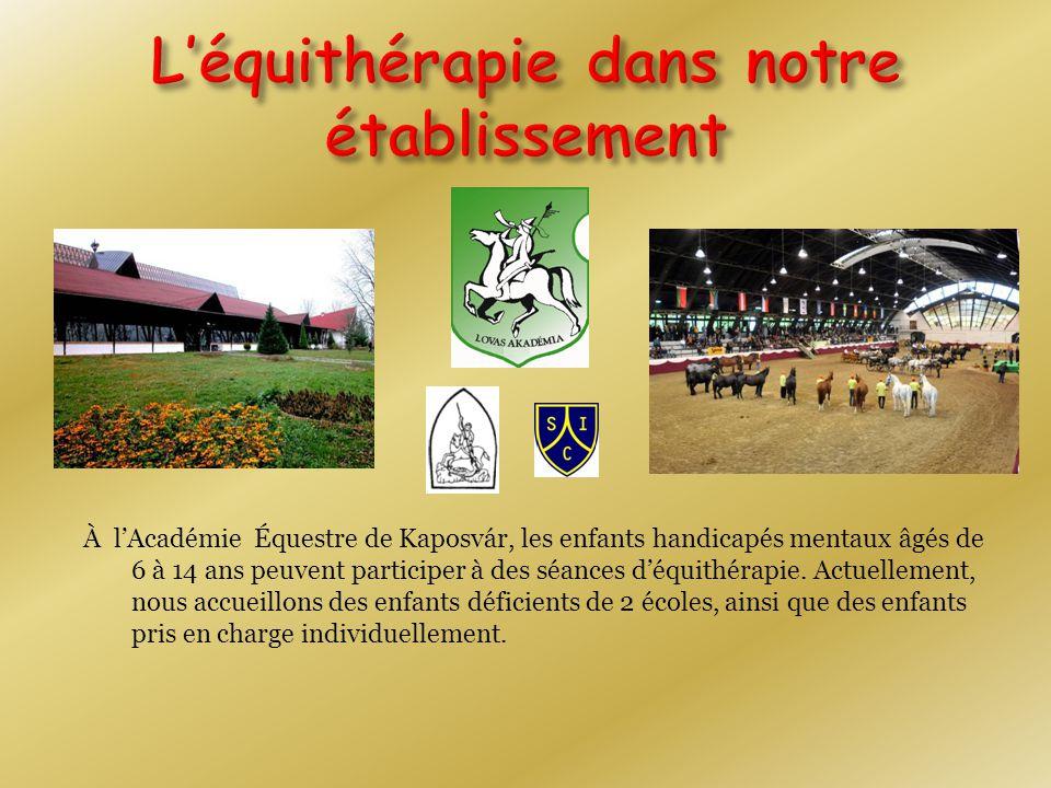 À l'Académie Équestre de Kaposvár, les enfants handicapés mentaux âgés de 6 à 14 ans peuvent participer à des séances d'équithérapie.