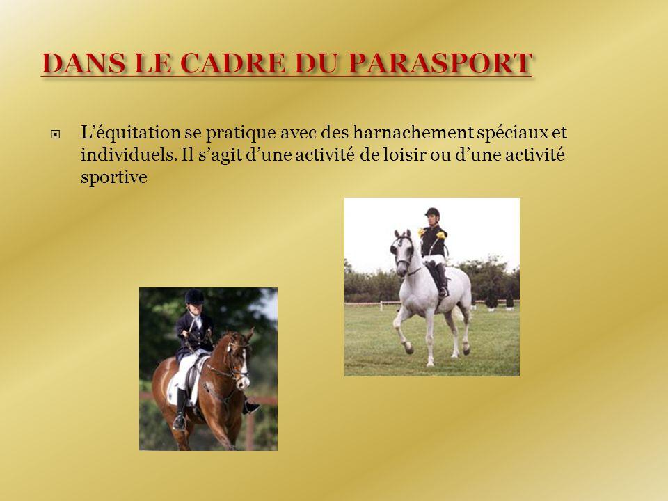  L'équitation se pratique avec des harnachement spéciaux et individuels.