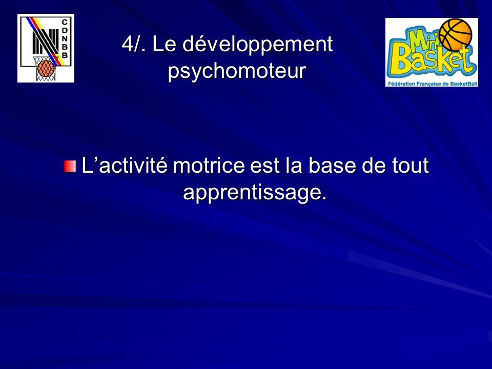 4/. Le développement psychomoteur 4/. Le développement psychomoteur L'activité motrice est la base de tout apprentissage.