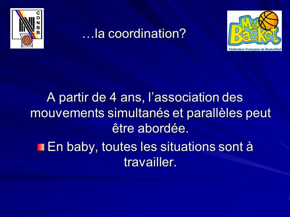…la coordination? …la coordination? A partir de 4 ans, l'association des mouvements simultanés et parallèles peut être abordée. En baby, toutes les si