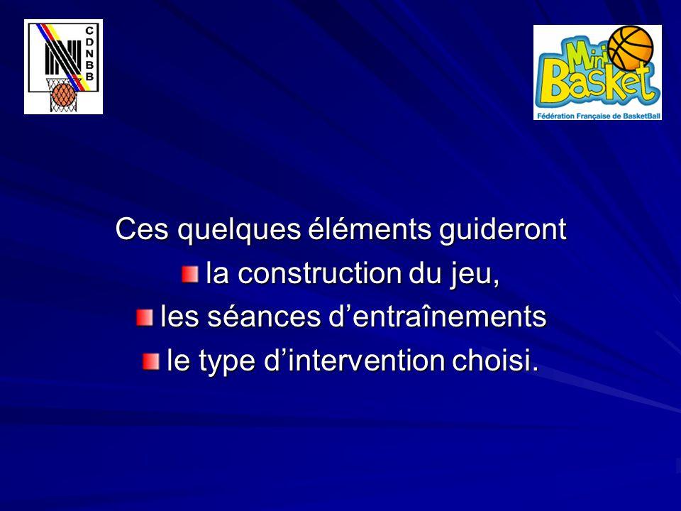 Ces quelques éléments guideront la construction du jeu, les séances d'entraînements le type d'intervention choisi.