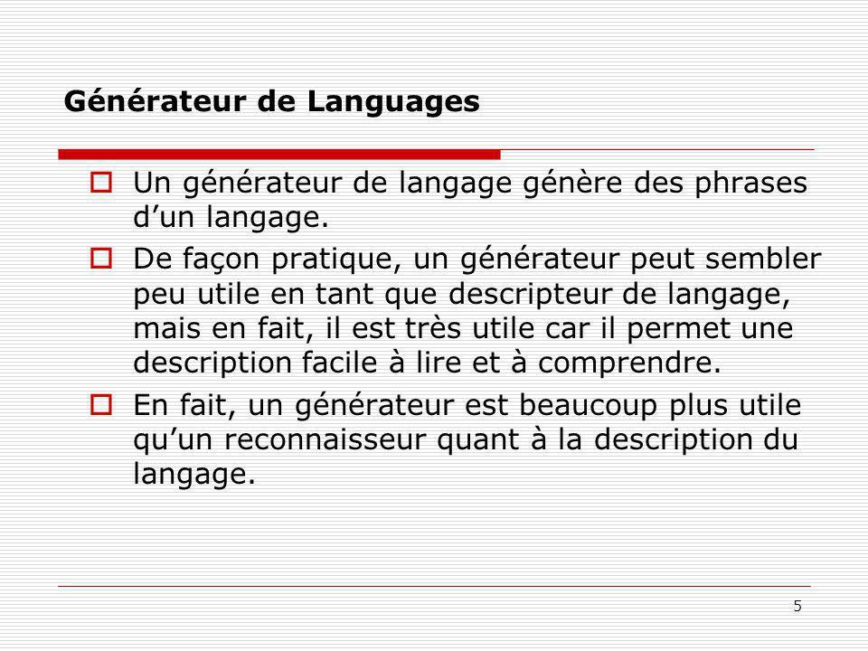 5 Générateur de Languages  Un générateur de langage génère des phrases d'un langage.  De façon pratique, un générateur peut sembler peu utile en tan