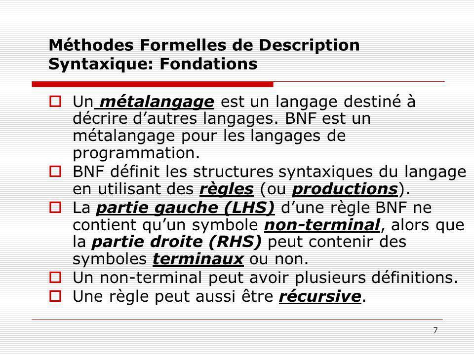 8 Méthodes Formelles de Description Syntaxique: Définitions  Les phrases d'un langage sont générées par l'application en séquence des règles de la grammaire.
