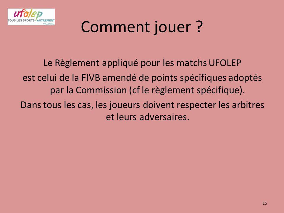 Comment jouer ? Le Règlement appliqué pour les matchs UFOLEP est celui de la FIVB amendé de points spécifiques adoptés par la Commission (cf le règlem