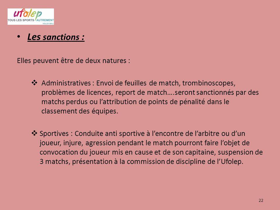 Les sanctions : Elles peuvent être de deux natures :  Administratives : Envoi de feuilles de match, trombinoscopes, problèmes de licences, report de