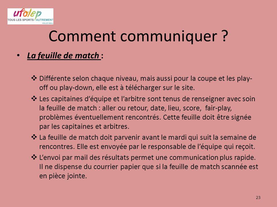Comment communiquer ? La feuille de match :  Différente selon chaque niveau, mais aussi pour la coupe et les play- off ou play-down, elle est à téléc