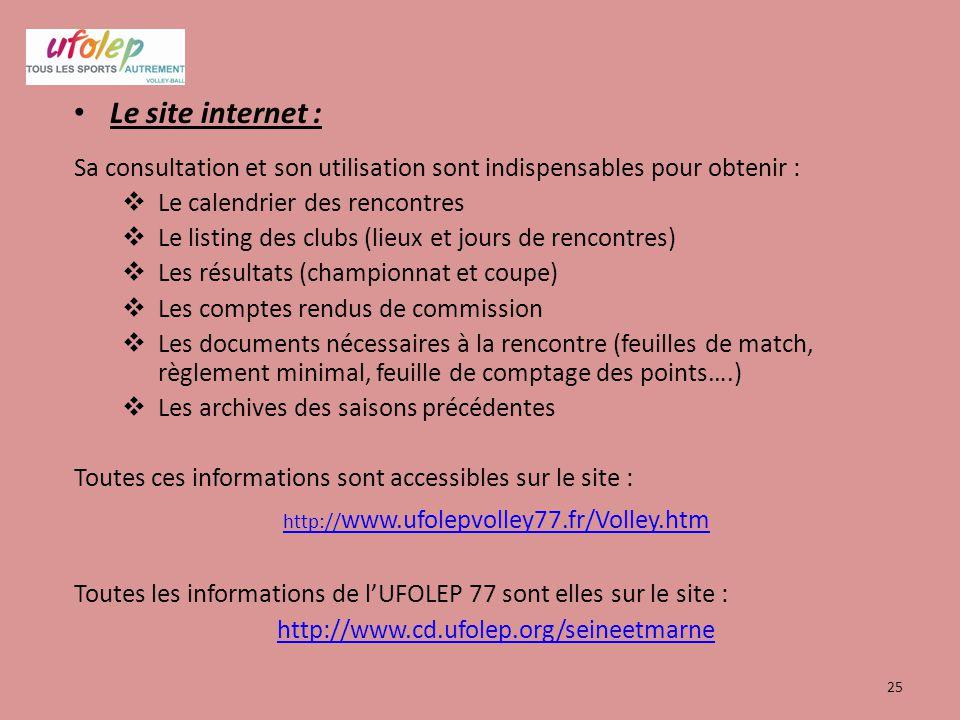 Le site internet : Sa consultation et son utilisation sont indispensables pour obtenir :  Le calendrier des rencontres  Le listing des clubs (lieux
