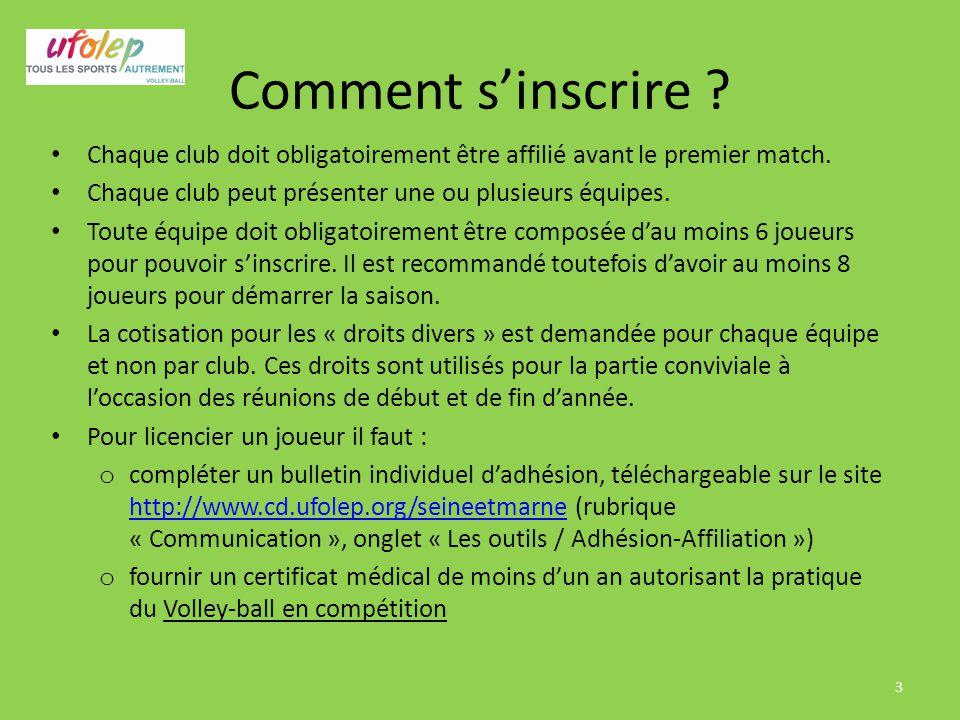 Comment s'inscrire ? Chaque club doit obligatoirement être affilié avant le premier match. Chaque club peut présenter une ou plusieurs équipes. Toute