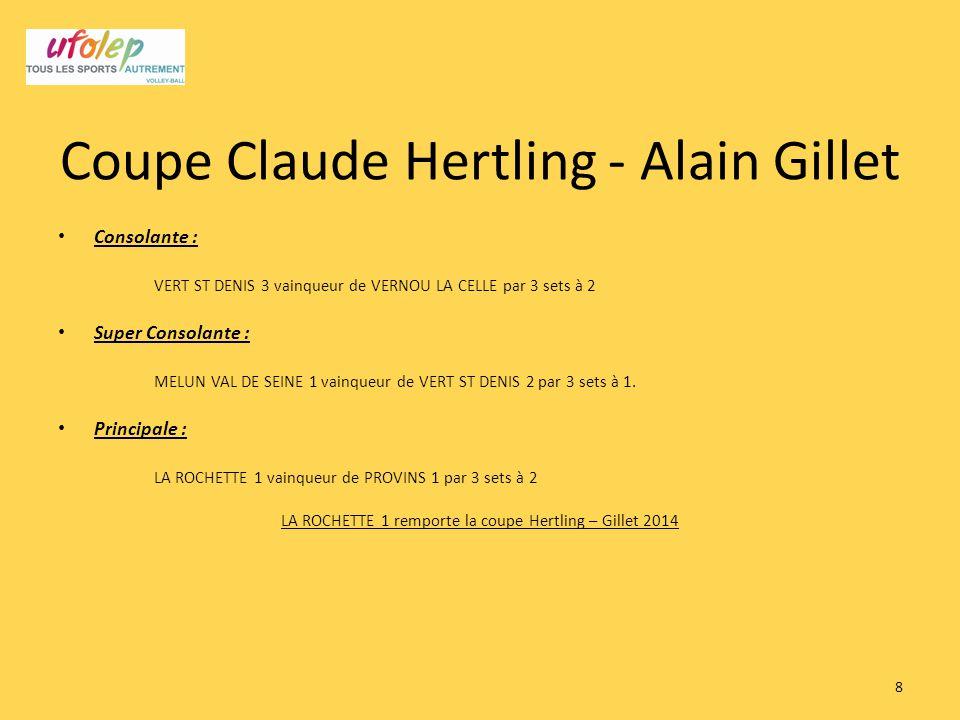 Coupe Claude Hertling - Alain Gillet Consolante : VERT ST DENIS 3 vainqueur de VERNOU LA CELLE par 3 sets à 2 Super Consolante : MELUN VAL DE SEINE 1