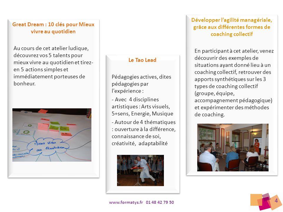4 www.formatys.fr 01 48 42 79 50 Great Dream : 10 clés pour Mieux vivre au quotidien Au cours de cet atelier ludique, découvrez vos 5 talents pour mie