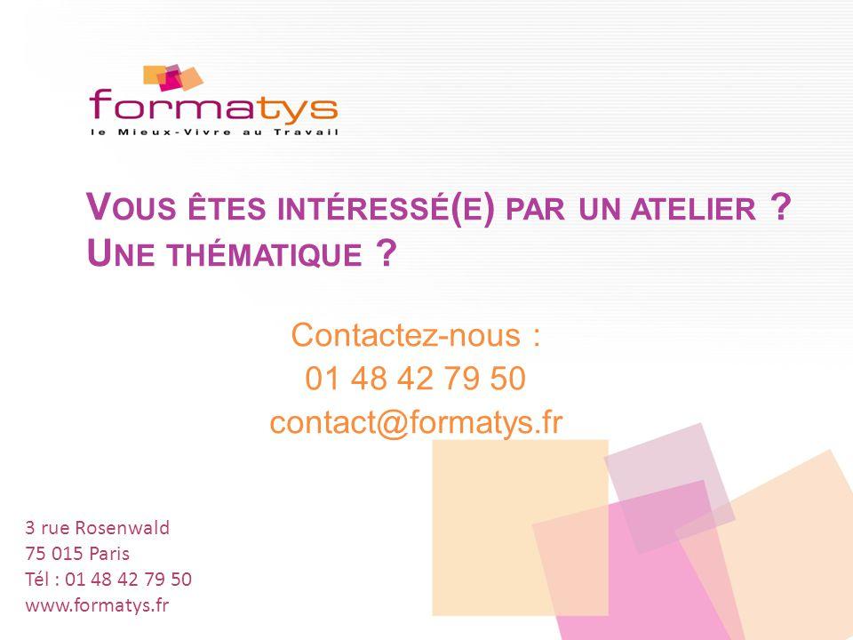 8 www.formatys.fr 01 48 42 79 50 M ERCI À NOTRE RÉSEAU DE PARTENAIRES !